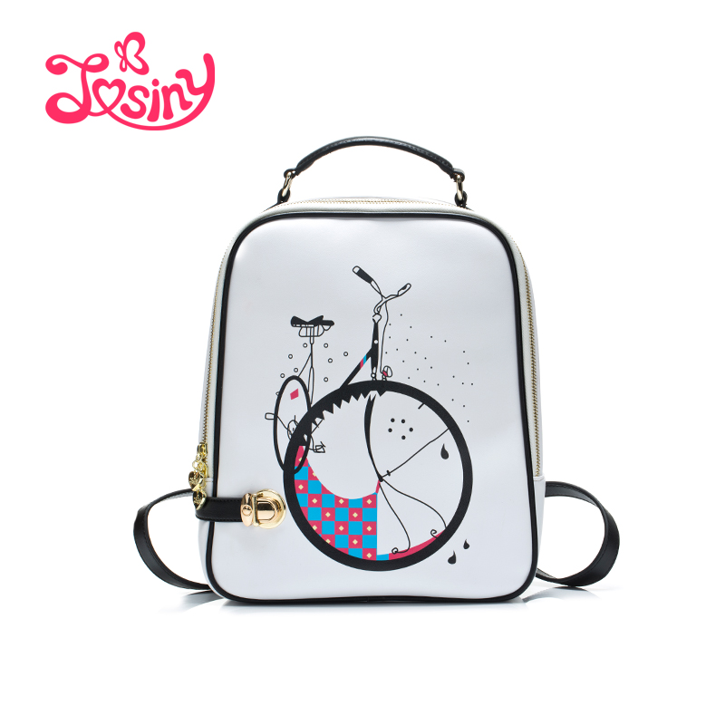 JOSINY 2017 New Spring Fashion Bycicle Printing Bags Famous Brand Design School Backpack For Teenager Girls Backpacks For Ladies<br><br>Aliexpress