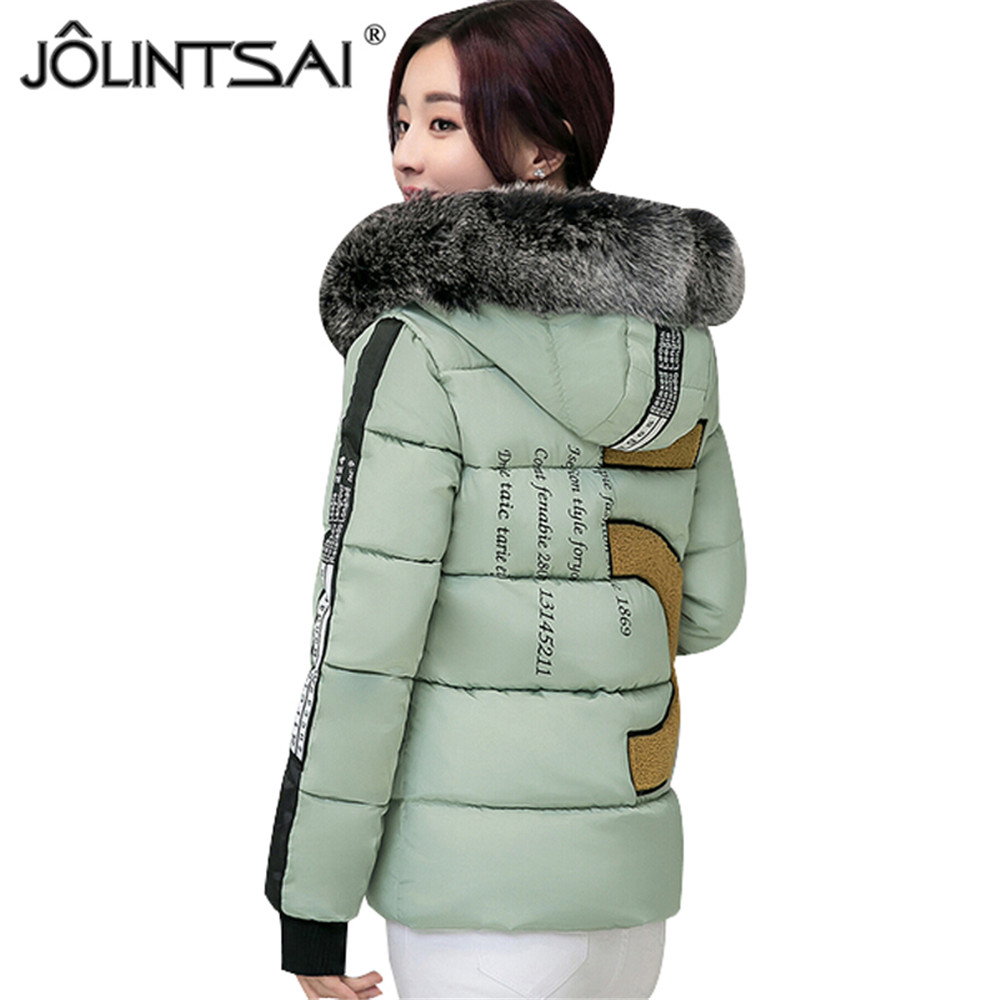 Hot Sale 2017 New Aarrivals Fashional Large Fur Collar Women Jacket Hoody Short Style Letter Printed Winter Coat Women Plus SizeОдежда и ак�е��уары<br><br><br>Aliexpress