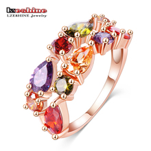 LZESHINE Wedding Ring Bands Bijouterie Finger Ring Rose Gold Color With Colorful Austrian Zirconia 2016 Anillos CRI0242-A(China)