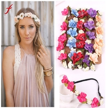 Fashion bohemian Style Rose Flower hair accessories for women Head Chain Jewelry Hollow Elastic Hair Band Headband Wedding(China)