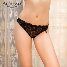 Buy ACOUSMA Women Seamless Floral Lace Hollow G-String T Back Thongs Panty Sexy Panties Lace Female Lingerie Underwear Soft