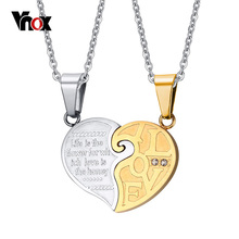 Vnox 2pcs/lots Heart Necklace Pendant Set His & Hers Couple Jewelry Stainless Steel Best Friend Jewelry