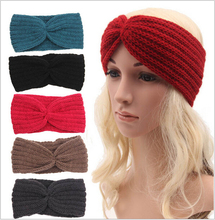 winter knit warm women adult crochet braided turban headband wool scrunchy elastic headbands hair bands accessories for women