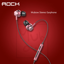 ROCK Mubow Stereo Earphone In-Ear Metal Earphones with Microphone Headset For Apple iPhone Android Samsung Huawei Xiaomi Sony(China)
