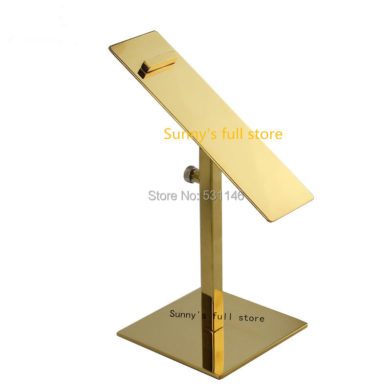 Free Shipping 10PCS/lot stainless steel Gold adjustable height heels holder rack shoes display shelf stand(China (Mainland))