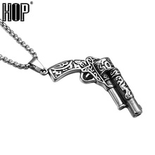 HIP Punk Casting Titanium Stainless Steel Carved Flower Revolver Gun Pendants Necklaces for Men Jewelry