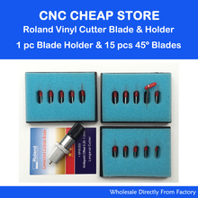 1 Roland holder + 15pcs 45 degrees Roland Blade Cricut Cutting Plotter Vinyl Cutter Blades(China)