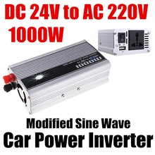 1000W WATT Car vehicle Power Inverter Adapter Charger Voltage DC 24V to AC 220V Portable USB  Converter Transformer Universal