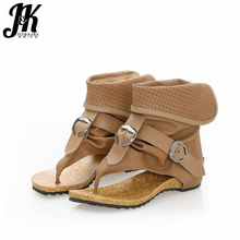 J&K 2017 New Designer Summer Boots Women Cool Buckle Strap Open toed Summer Shoes Woman Ankle Boots Zipper Wedges Platform Shoes