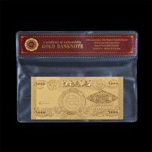 Forever Keeping Gold Plated Craft Iraq 1000 Dinar Gold Banknote With Plastic Cover(China)