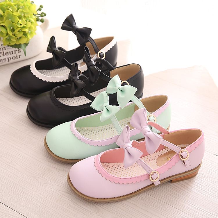 Japanese Queenbee New Color Ribbon Strap Shoes Head Low With Lolita Soft Sister Shoes cosplay shoes womens flats single shoes<br><br>Aliexpress