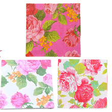 33*33cm 20pcs/pack vintage table napkin paper tissue white pink flower peony printed decoupage wedding party cocktail home decor