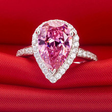 2 CT Pure 14Karat Gold Pink Pear Shape Drop Style Clever Synthetic diamonds Engagement Ring For lady Royal Shape Solid Gold Ring