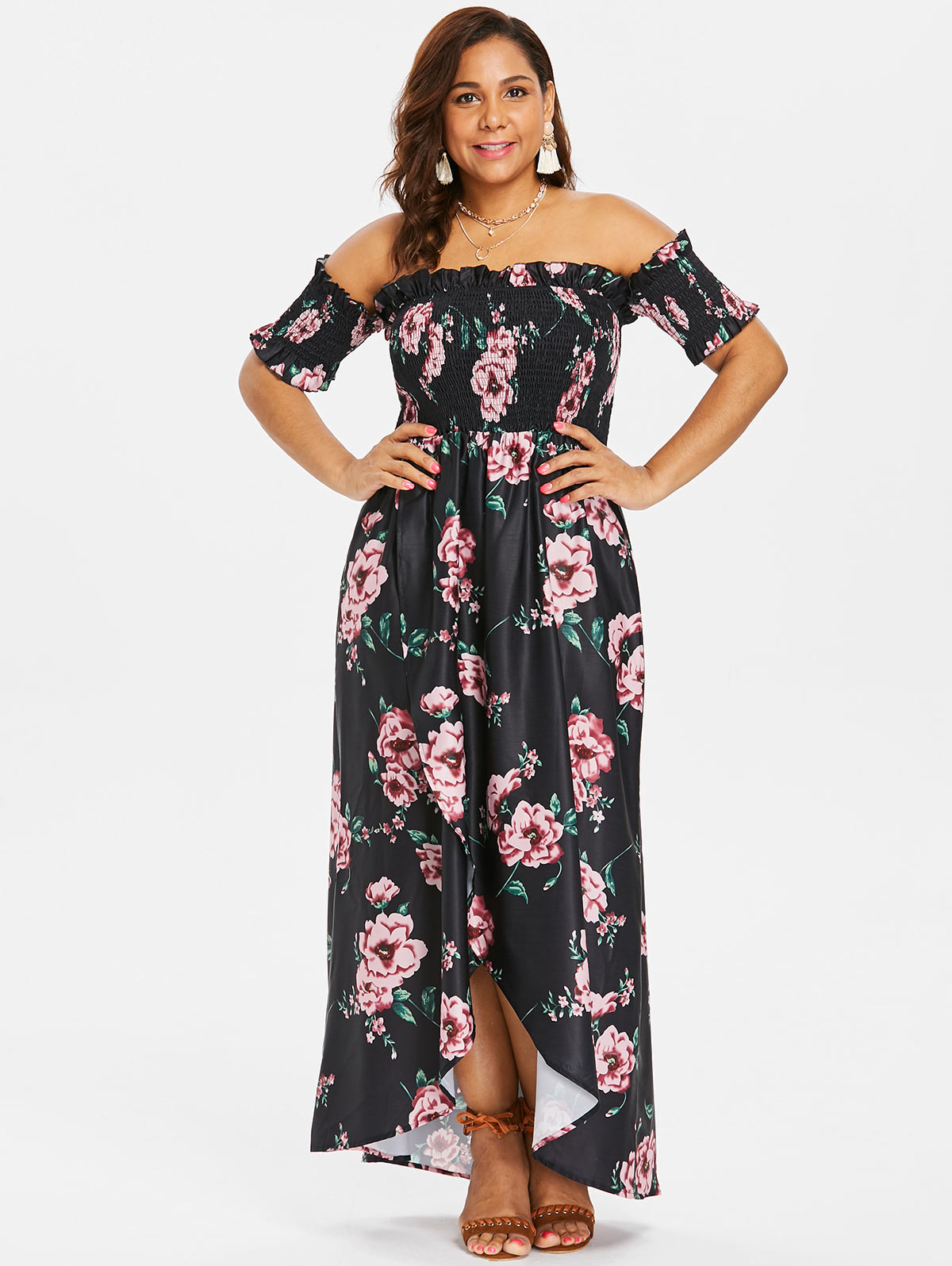 Detail Feedback Questions about Wipalo Plus Size Floral Print Off ... c66edb1bf55e