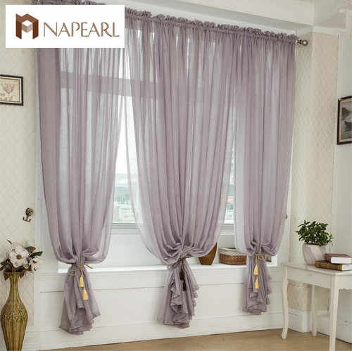 NAPEARL Free shipping Quality balcony window linen tulle fabric finished product sheer curtain panel