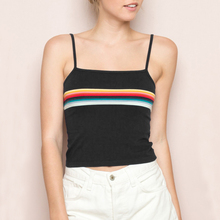 Women Super Soft Cotton Tank Offset Printing Rainbow Stripes cropped Cami Tops Contrast Color Stripes Camis(China)