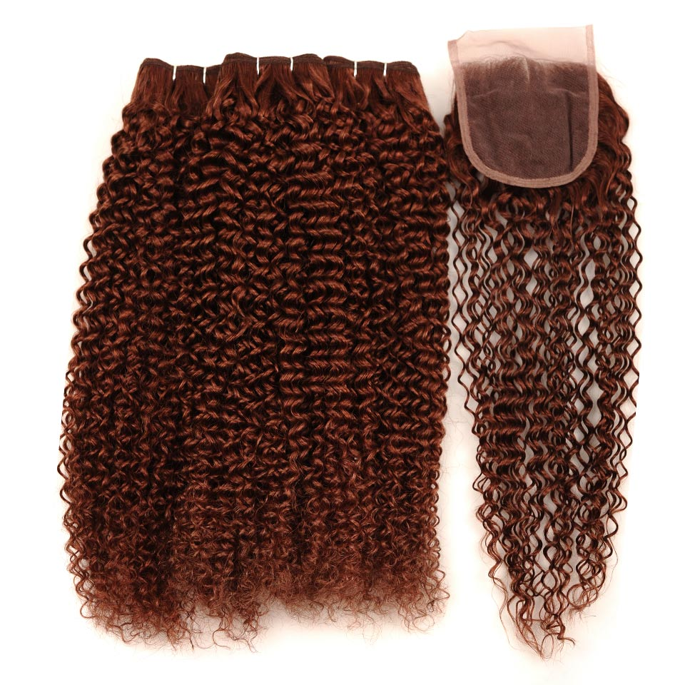 Pinshair Pre-Colored Peruvian Hair Jerry Curly Cheap 3 Bundles With Closure #33 Light Brown Color 100% Human Hair One Pack Sale (166)