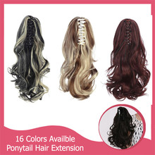10pcs/lot Ponytail Hair Extension Curly Pony Tail 125g 30cm Synthetic Ponytails Natural Claw In Hairpiece Wholesale P004
