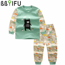 BBYIFU 2Pcs/Sets Clothing Sets Autumn Long-Sleeved Trousers Winter Boys Girls Cotton Print Character Baby Top+Pant Sets Clothes
