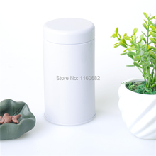 6.5X12.5cm Round white tea pot / metal storage case / candy tin box / wholesale(China)