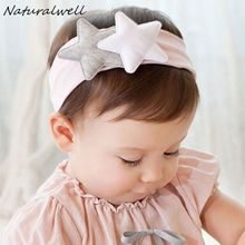 Naturalwell New Lovely Baby Girls Star Headband Headwear Elastic Kids Hairband Accessories Photo Prop Christmas Gift 1pc HB001