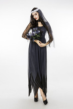 High Qulity Corpse Bride Cosplay Lace Dress Ghost Bride Costume For Scary Halloween M-XXL Black Color Cloting