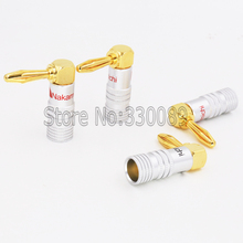 4pcs High Quality 90 Degree Angel 4mm Nakamichi Banana Plug For Video 24K Gold Plated Speaker Copper Adapter Audio Connector