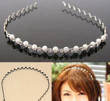 2014 New Fashion Rhinestone & Imitation Pearl Wave Hairpin Hair Band Headband Accessories Hot selling A141