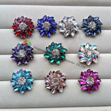 100pcs NEW 25mm Siam Navy Royal blue Emerald Amethyst Aquamarin AB Crystal rhinestone button centerpieces diy browband wedding