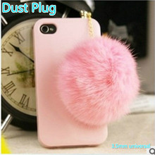 Cute Furry  Pure Hair Ball Anti Dust Plug Phone Accessories 3.5mm Earphone Jack Plug for iphone 7 for samsung xiaomi Huawei