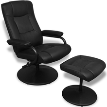 iKayaa black leatherette armchair with footrest Living Room Sofa ES Stock