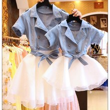 2017 Spring Summer Family Matching Clothes Mother Daughter Dresses Jeans Coat Stitching Lace Dresses Princess Girls Dress