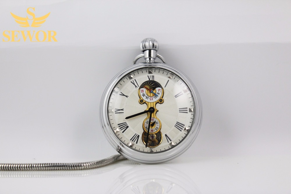 2017 SEWOR Top Brand Simple fashion moon phase small second hand display mechanical pocket watch C228<br><br>Aliexpress