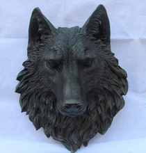 China Art Decor Bronze Pure Copper Figurine Dog Wolf Head Mask Statue Sculpture Copper garden decoration