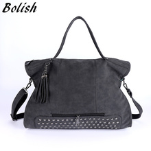 Bolish Rivet Nubuck Leather women bag Fashion Tassel Messenger Bag Vintage Shoulder Bag Larger Top-Handle Bags  Mummy Package