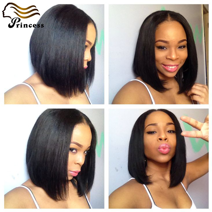 7A Unprocessed Glueless Full Lace Wigs For Black Woman Brazilian Straight Short Bob Wigs With Baby Hair Lace Front Wig Free Ship<br><br>Aliexpress