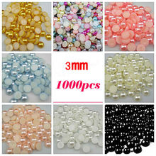 Free Shipping Many Colors 3mm 1000Pcs Craft ABS Imitation Pearls Half Round Flatback Pearls Resin Diy Scrapbook Beads Decorate