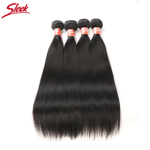 Sleek Malaysian Straight Hair Extension 4 Bundles Deal 10 to 28 Inch Double Weft Non Remy Straight Hair Weave Human Hair Bundles(China)