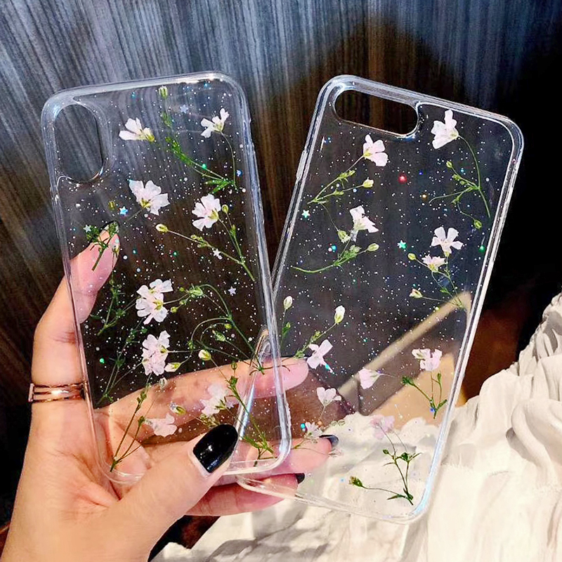 Clear Phone Cases For iPhone X Fashion Real Dried Flower Cases For iphone 6 6S 7 Plus Floral Back Cover For iPhone 8 Plus Fundas (3)