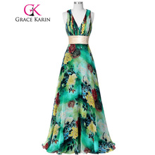 2017 New Arrival Grace Karin Halter Floral Long Prom Dresses Zipper Back Chiffon Flower Pattern Party Gown robes de bal GK34