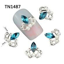 Blueness 10 шт./лот blue crystal crown дизайн серебряный сплав маникюр советы <em>корона</em> ясно стразы для 3d nail art декорация tn1488(China)