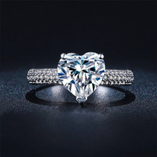 H:HYDE Shiny Big CZ Stone Heart Silver Color Rings For Women Wedding Jewelry Engagement vintage ring zirconia bijoux(China)