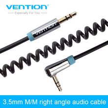 Vention Right Angle 90 Degree 3.5mm Male to 3.5mm Male Audio Cable Coiled Spring AUX Cord For Car MP3 Player(China)