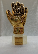 2014 World Cup football trophy best goalkeeper Golden gloves title resin size 1:1 31cm