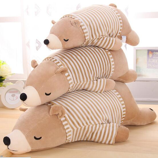 70cm big lovely white/brown polar bear with Striped t-shirt plush toy lovely stuffed polar bear doll kids gift<br>