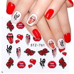 Наклейки для ногтей «Губы и розы»