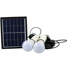 Portable LED Outdoor Solar Lights System Kit Waterproof 2 Bulbs Mobile Phone Power Bank Rechargable Battery Camping Lighting