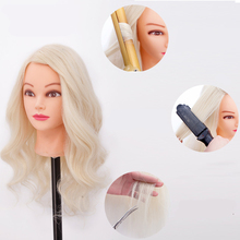 Great Quality Hairdressing Head Mannequin For Sale Nice female dolls head Kappers pop 70% blonde human hair mannequin head(China)