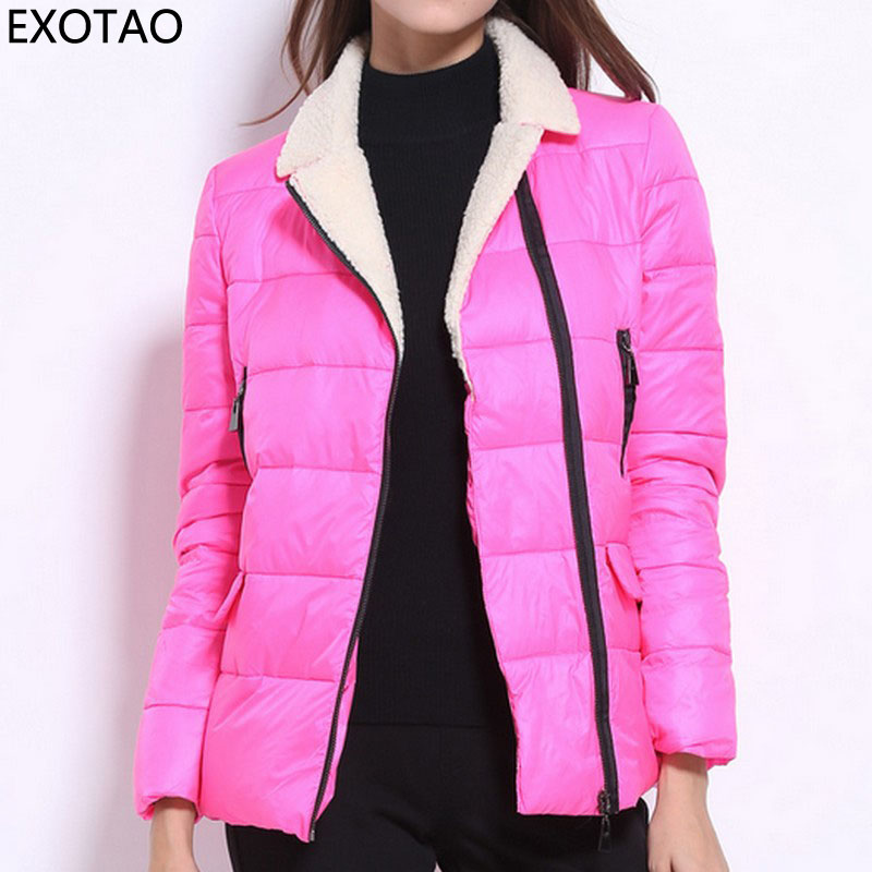 EXOTAO Design Zipper up Winter Coat Female Long Sleeve Turn-down Collar Womens Jackets Casual Candy Color Casacos New ChaquetaÎäåæäà è àêñåññóàðû<br><br>