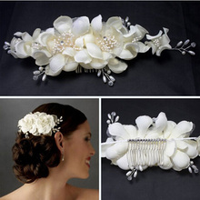 TREAZY Women Bridesmaid Bridal White Flower Hair Comb Hairpins Wedding Hair Accessories Handmade Headpiece Veil Jewelry(China)